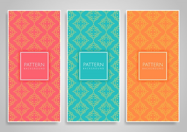 Collection of decorative seamless pattern set
