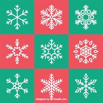Raccolta di fiocchi di neve decorativi