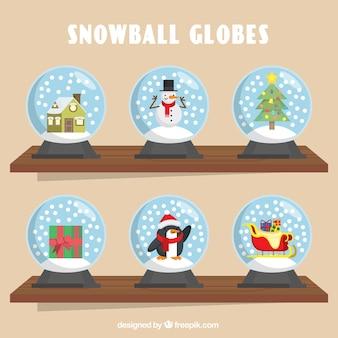 Raccolta di snowglobes decorativi