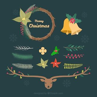 Collezione di cervi e decorazioni natalizie in stile vintage