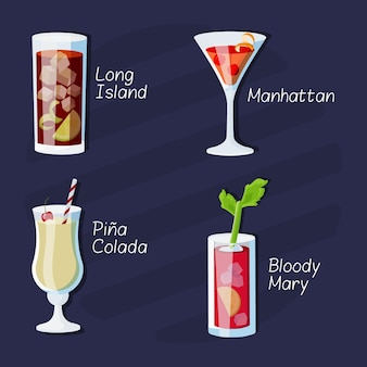 Collection of delicious drawn cocktails