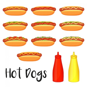 Collection of delicious hot dogs, mustard and ketchup on white background. cartoon style.