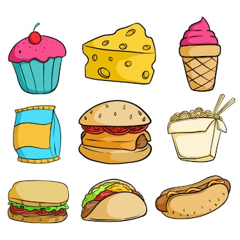 Collection of delicious junk food with doodle style