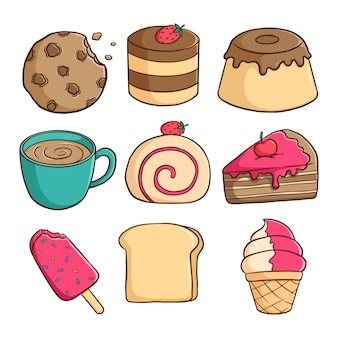 Collection of delicious pudding, ice cream, slice cake and cookies with colored doodle style