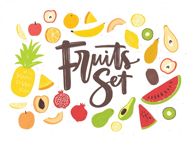 Collection of delicious ripe juicy exotic tropical fruits, whole and cut into slices - pineapple, kiwi, watermelon, banana, apple, orange, lemon, pear, pomegranate, avocado. illustration.