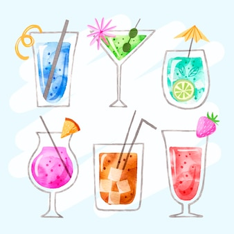Collection of delicious watercolor cocktails
