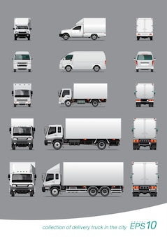Collection of delivery cargo truck