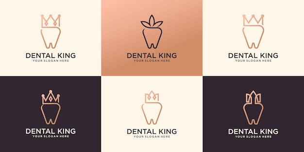 Collection of dental crown clinic logo premium vector