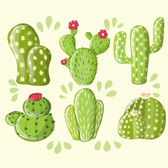 Коллекция desert plants cactus set. различные сочные колючие кактусы