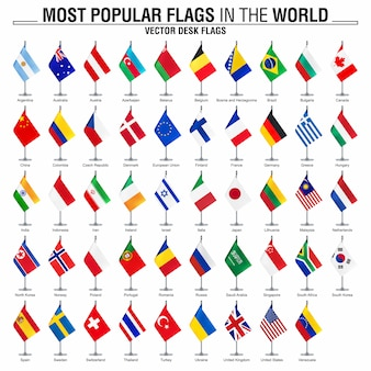 Collection of desk flags, most popular world flags