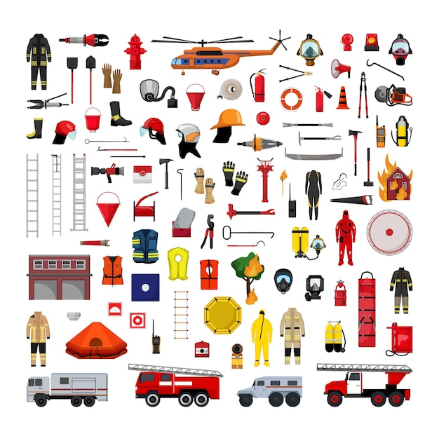 Collection of detailed fire fighting and rescue equipment
