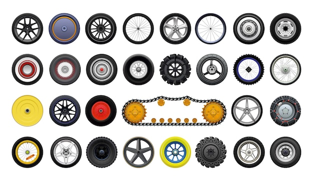 Collection of detailed realistic wheels of various vehicles.