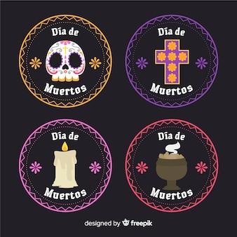 Collection of dia de muertos badge in flat design