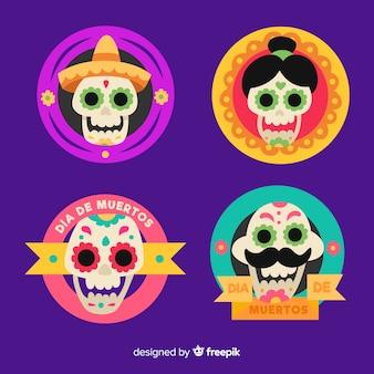 Collezione di badge dia de muertos su design piatto