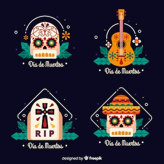 Collection of dia de muertos badge