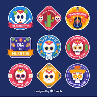 Collection of dia de muertos label in flat design