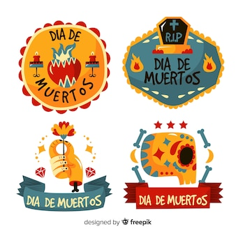 Collection of dia de muertos label on flat design