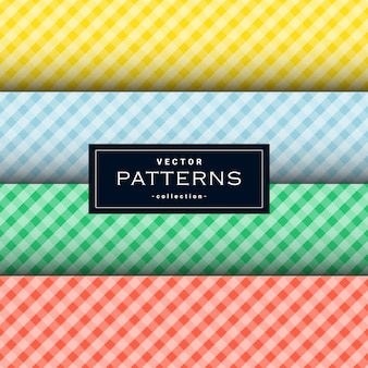 Collection of diagonal square cloth pattern set in four colors