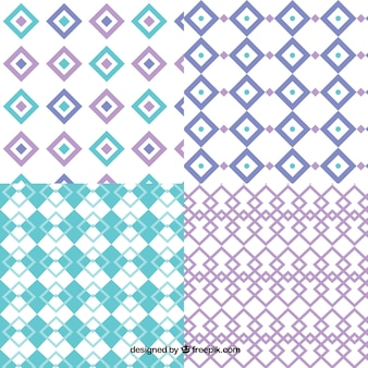 Collection of diamond patterns with geometric shapes