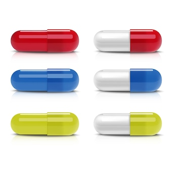 Collection of different colorful capsules. icon  illustration on white background.