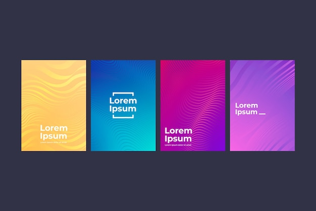 Collection of different colorful halftone gradient cover