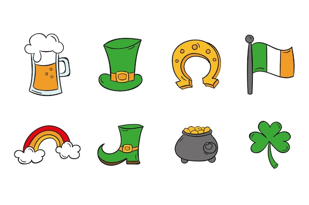Collection of different colorful st. patrick's day elements