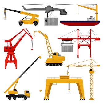 Collection of different cranes. professional construction and loading machines.