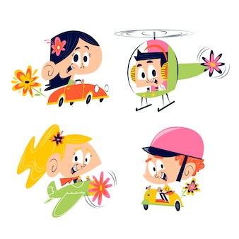 Collection of different cute cartoon kids