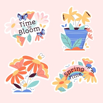 Collection of different cute nature stickers