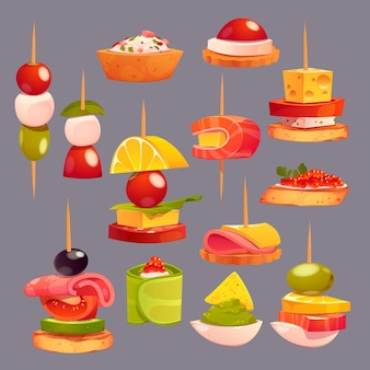 Collection of different delicious appetizers