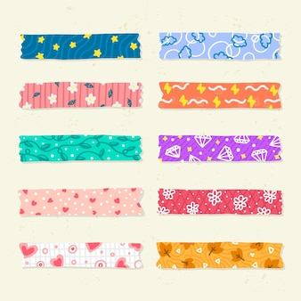 Collection of different drawn washi tapes