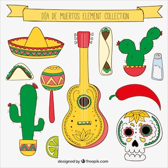 Collection of different elements for day of the dead