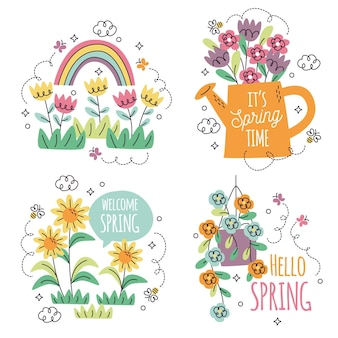 Collection of different floral stickers