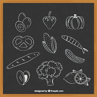 Collection of different food elements in chalk style