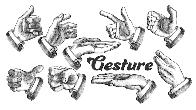 Collection of different gesture vintage set.