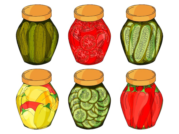 Collection of different glass jars with home made peppers, cucumbers, tomatoes.