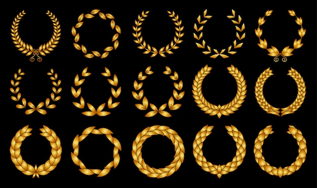 Collection of different golden silhouette circular laurel foliate, wheat and oak wreaths depicting an award