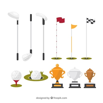 Collection of different golf elements