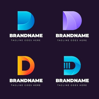 Collection of different gradient d logo