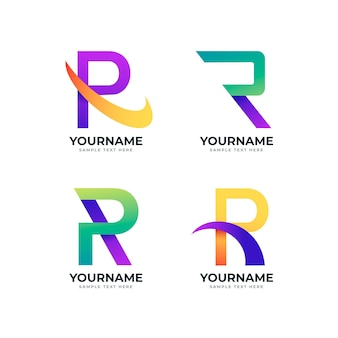 Collection of different gradient r logos