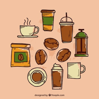 Collection of different hand drawn coffee elements