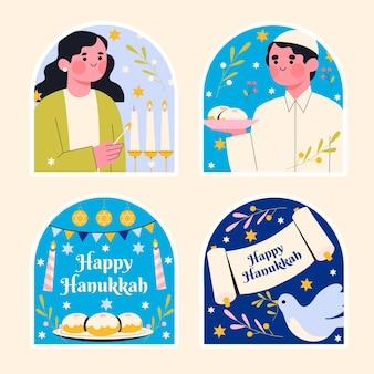 Collezione di diversi adesivi di hanukkah