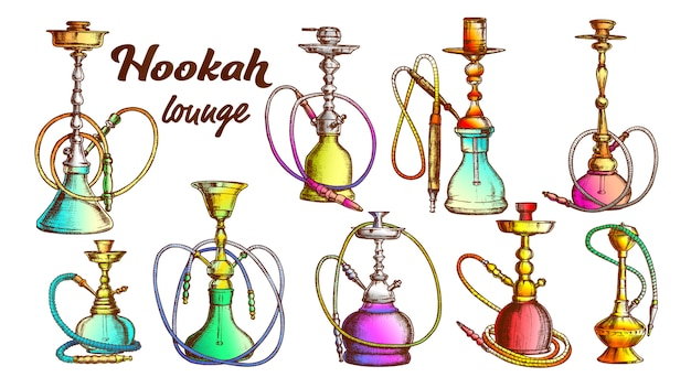 Collection of different hookah set