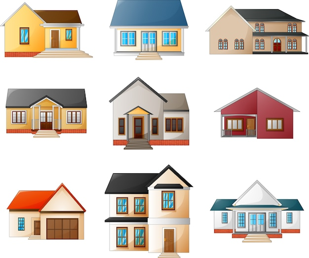Collection of different houses on a white background