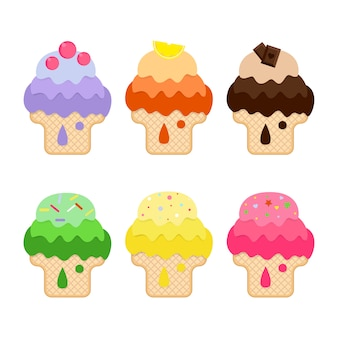 Collection of  different ice cream