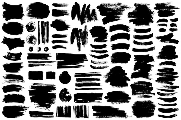 Collection of different ink brush strokes