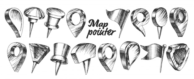 Collection of different map pointer set.