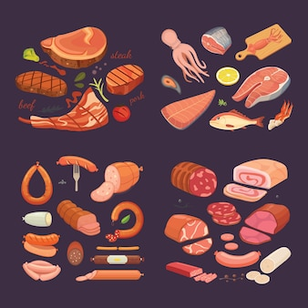 Collection of different meat product. set cartoon sausage and fish. griled beef steak.