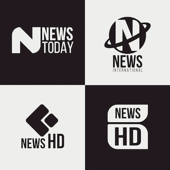 Collection of different news logos