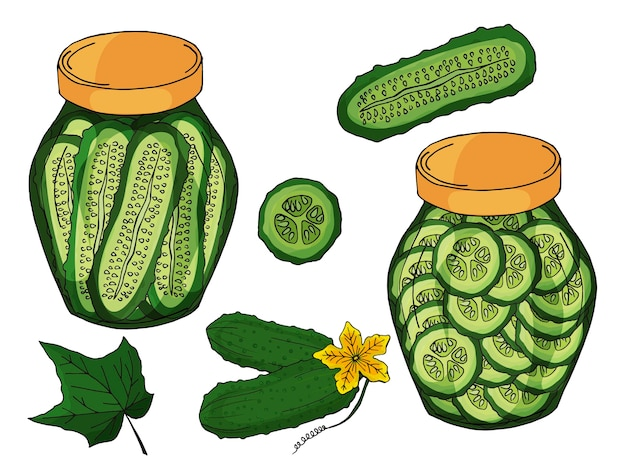 Collection of different objects. glass jar with home made cucumbers.